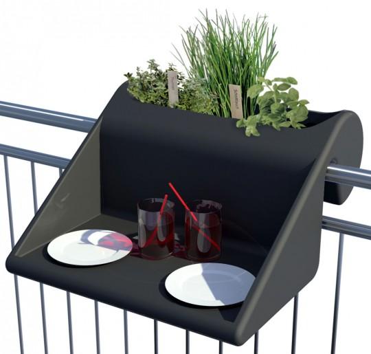 Table d'appoint Balkonzepft à accrocher sur le balcon