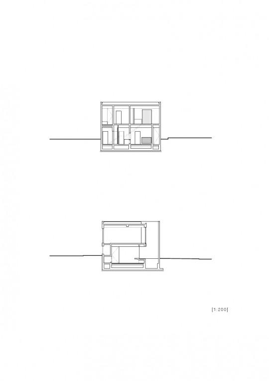 Maison sans fenêtres - plan de coupe