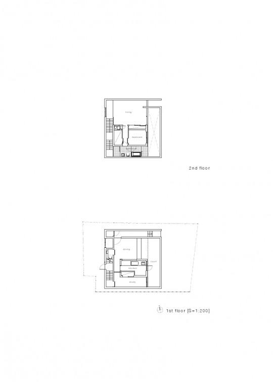 Maison sans fenêtres - plan des 2 étages