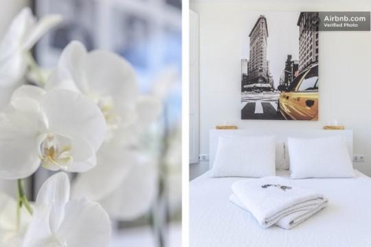 Penthouse à louer à Barcelone - fleurs et déco de la chambre