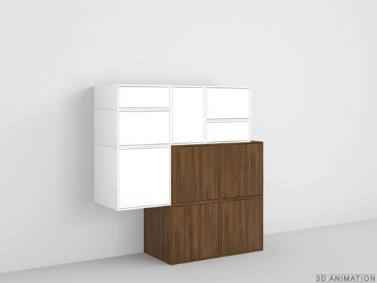 Buffet design atypique blanc et noyer Cubit