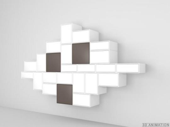 Combinaison étagères murales fermés Cubit
