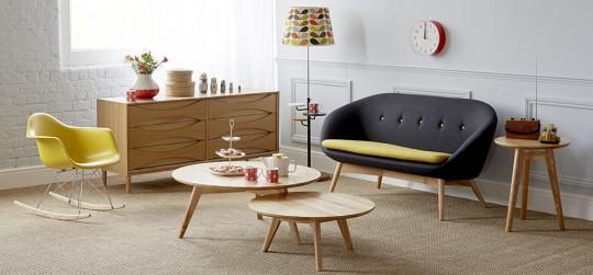 Décoration vintage - Canapé Table basse Fauteuil à bascule et Buffet