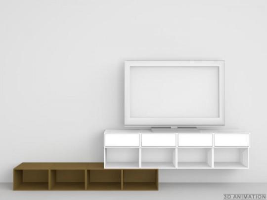 Etagère TV personnalisée blanc et brun Cubit