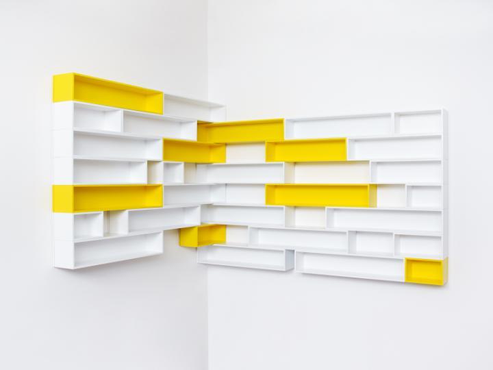 Etag re d 39 angle pour cd jaune et blanc cubit - Etagere d angle murale pour tv ...