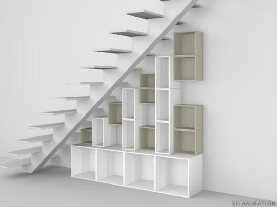 Etagère modulaire sous escalier Cubit