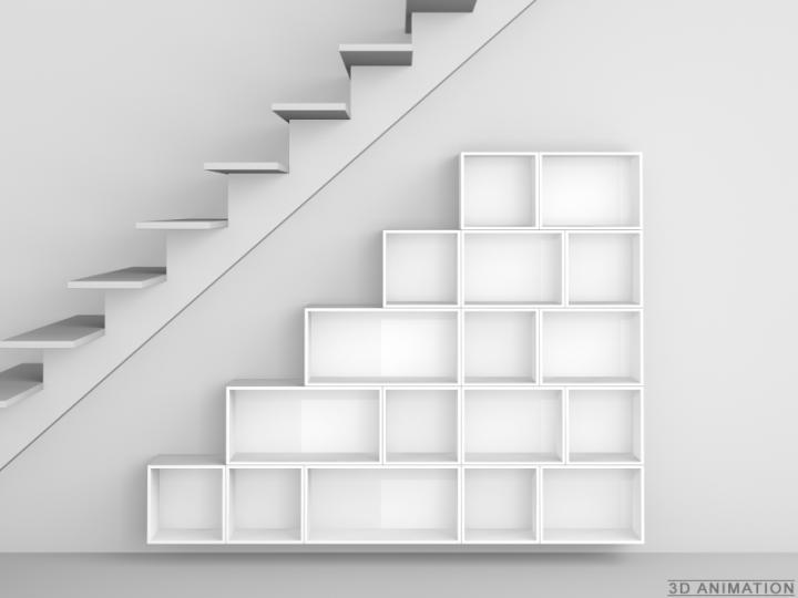 etagere murale en escalier