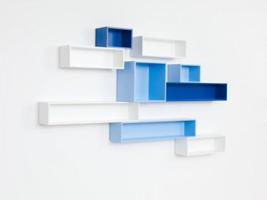 Etagère murale stylisée bleu et blanc Cubit