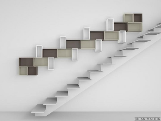 Etagères configurable pour installer dans un escalier Cubit