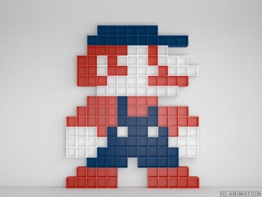 Etagères murales style pixellisé Super Mario
