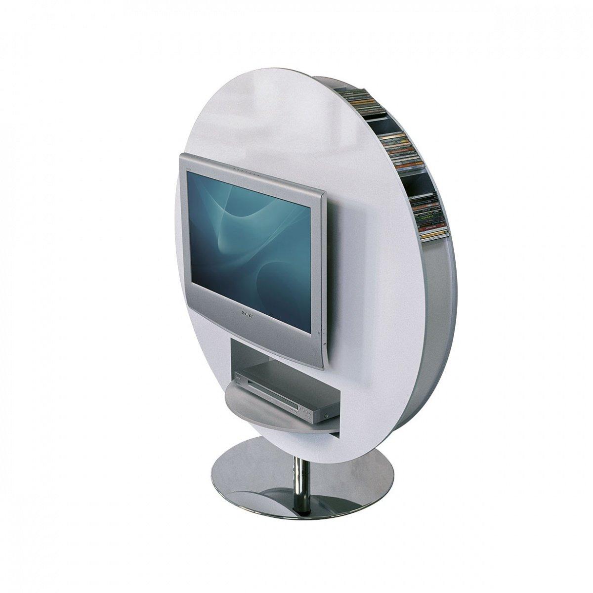 Un meuble TV Rond avec des rangements pour vos DVD