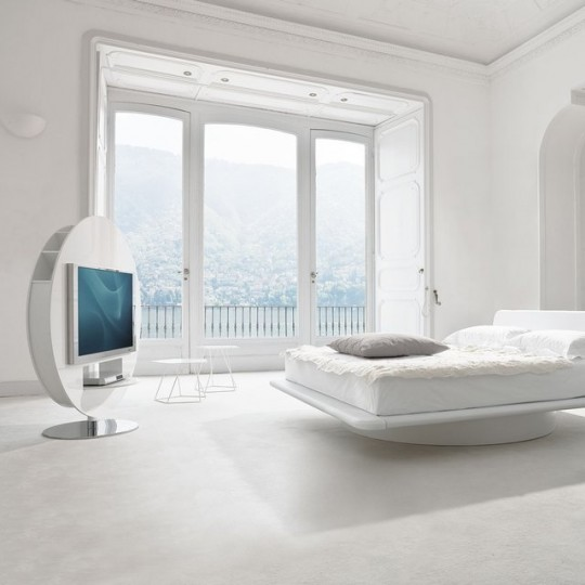 un meuble tv rond avec des rangements pour vos dvd. Black Bedroom Furniture Sets. Home Design Ideas