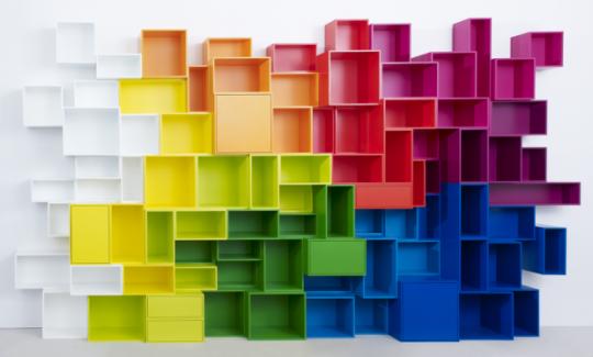 Mur de cubes de rangements de couleurs Cubit