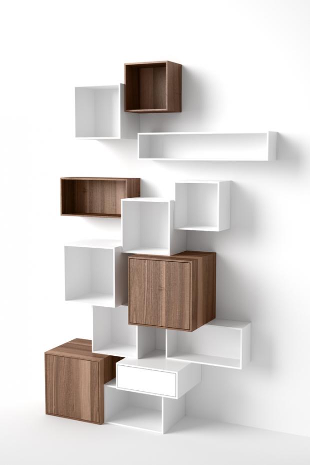 rangement muraux blanc et noyer cubit. Black Bedroom Furniture Sets. Home Design Ideas