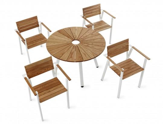 Table de jardin ronde avec trou central sunset by nola - Table de jardin avec parasol ...