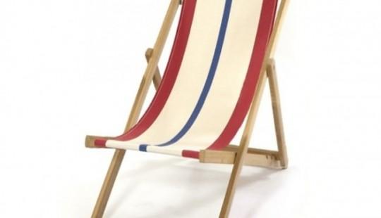 Chaise longue en bois naturel et tissu rayé Loma