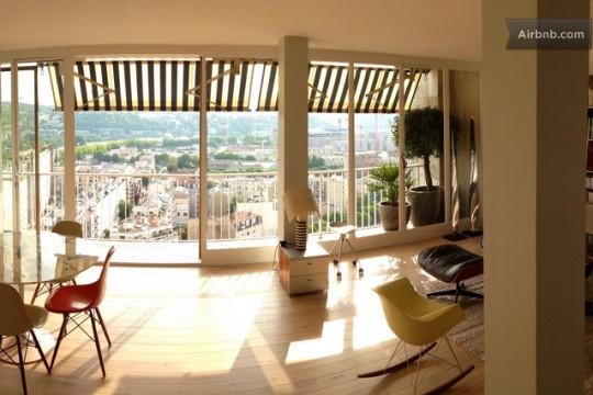Grand appartement lumineux avec déco vintage et vue sur Paris