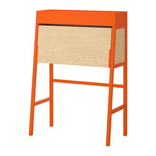 Petit bureau secrétaire Ikea PS Orange fermé