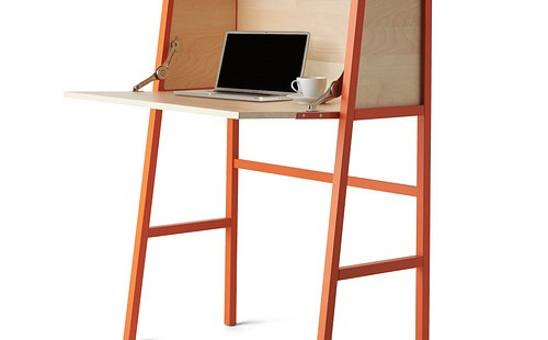 Petit bureau secrétaire Ikea PS Orange ouvert