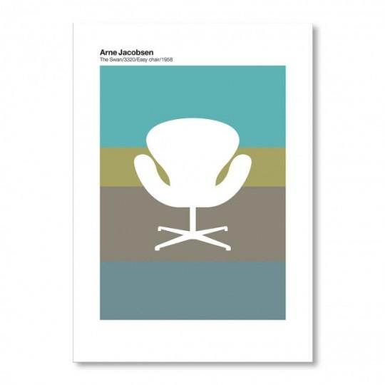 Poster American Flat Arne Jacobsen Red Series