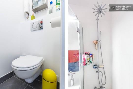 Toilettes et douche en étoile