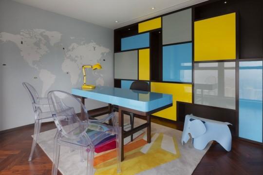 Appartement chinois déco colorée - bureau