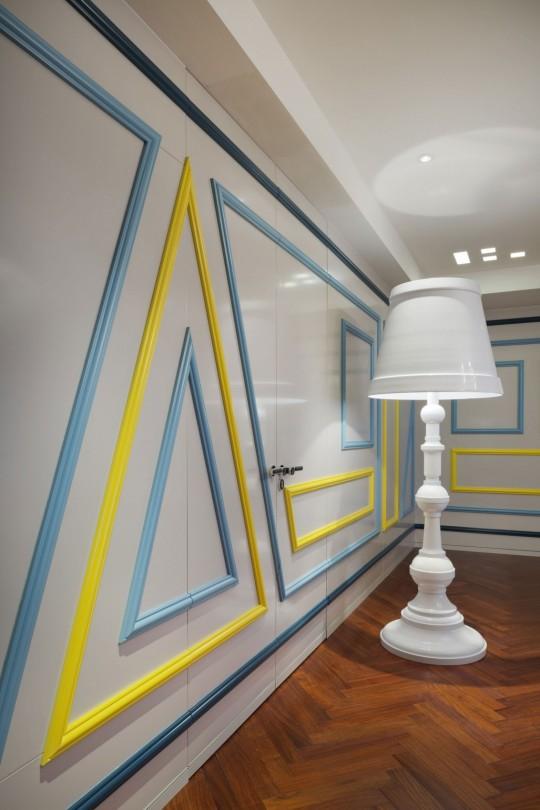 Appartement chinois déco colorée - lampadaire blanc rétro chic