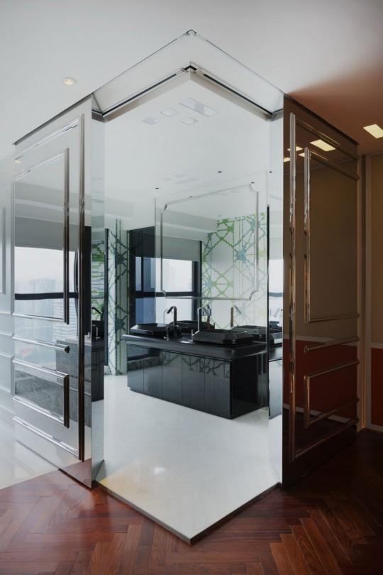 Appartement chinois déco colorée - salle de bain moderne