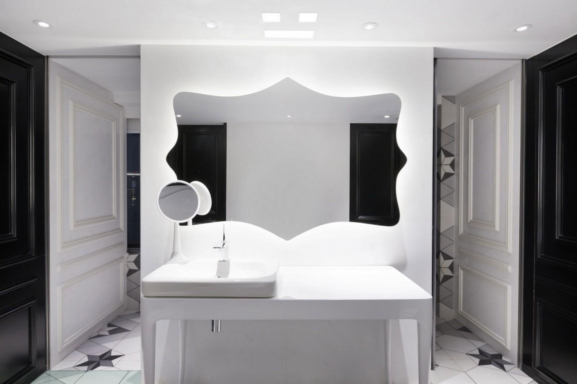 Bien connu Appartement chinois déco colorée - salle de bain noir et blanc  AM74