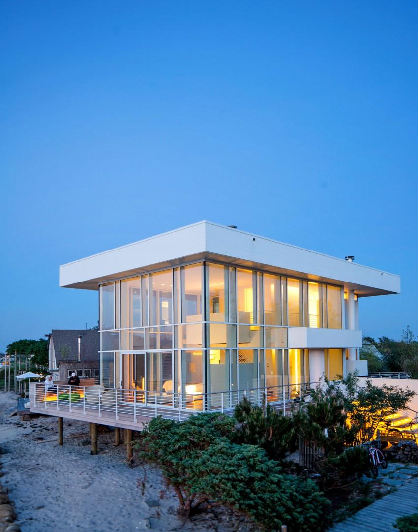 Magnifique maison en verre sur la plage de Long Island, New-York