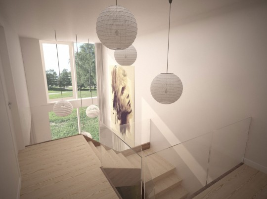 Starter House intérieur avec un escalier en bois contemporain