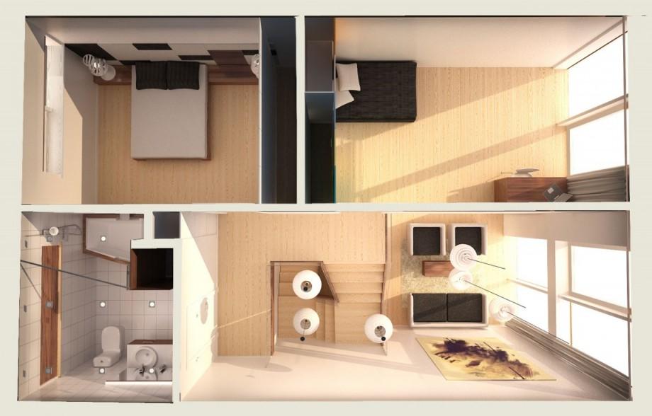 Starter house plan en 3d de la maison 1er tage for Plan maison etage 3d