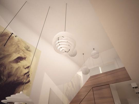 Starter House projet de séjour cathédrale avec des suspensions boules modernes