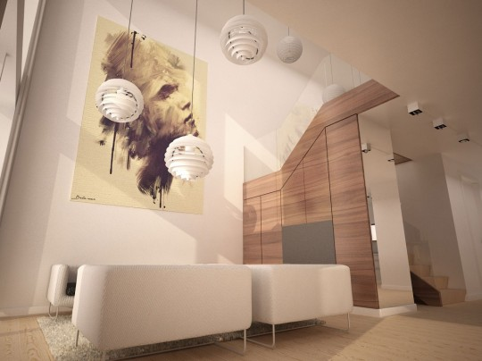 Starter House projet maison avec suspensions boules modernes blanches