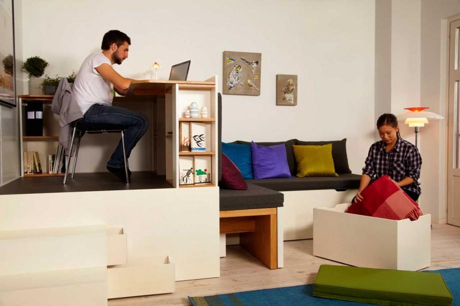 bureau et rangement dans un petit espace. Black Bedroom Furniture Sets. Home Design Ideas