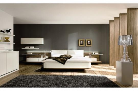 Chambre avec un tapis contemporain gris à poils longs