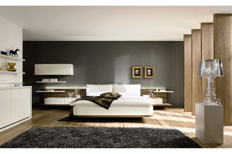 chambre avec un tapis contemporain gris poils longs. Black Bedroom Furniture Sets. Home Design Ideas