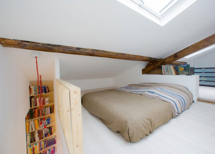 chambre en mezzanine dans un studio paris. Black Bedroom Furniture Sets. Home Design Ideas