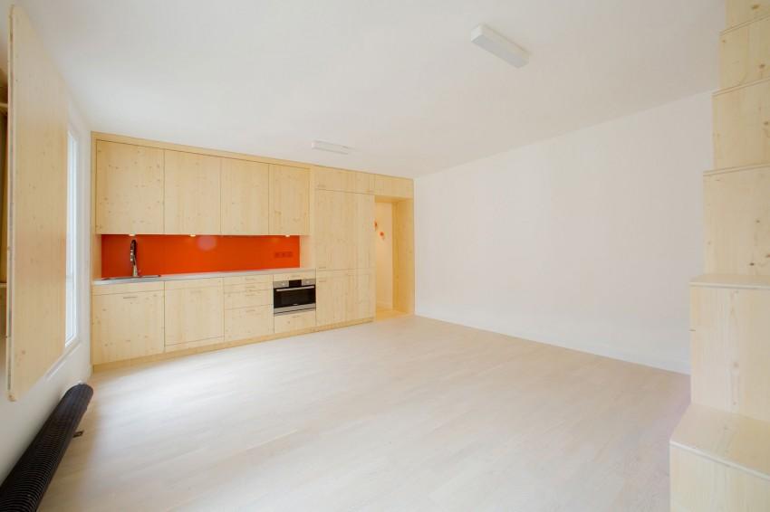 Studio avec une grande cuisine am ricaine lin aire for Cuisine lineaire 3 metres