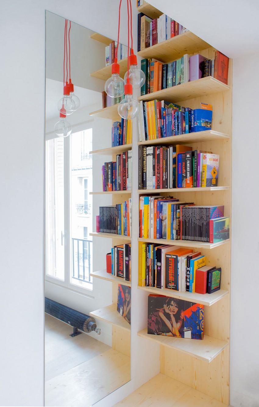 meuble biblioth que sur mesure dans un studio paris. Black Bedroom Furniture Sets. Home Design Ideas