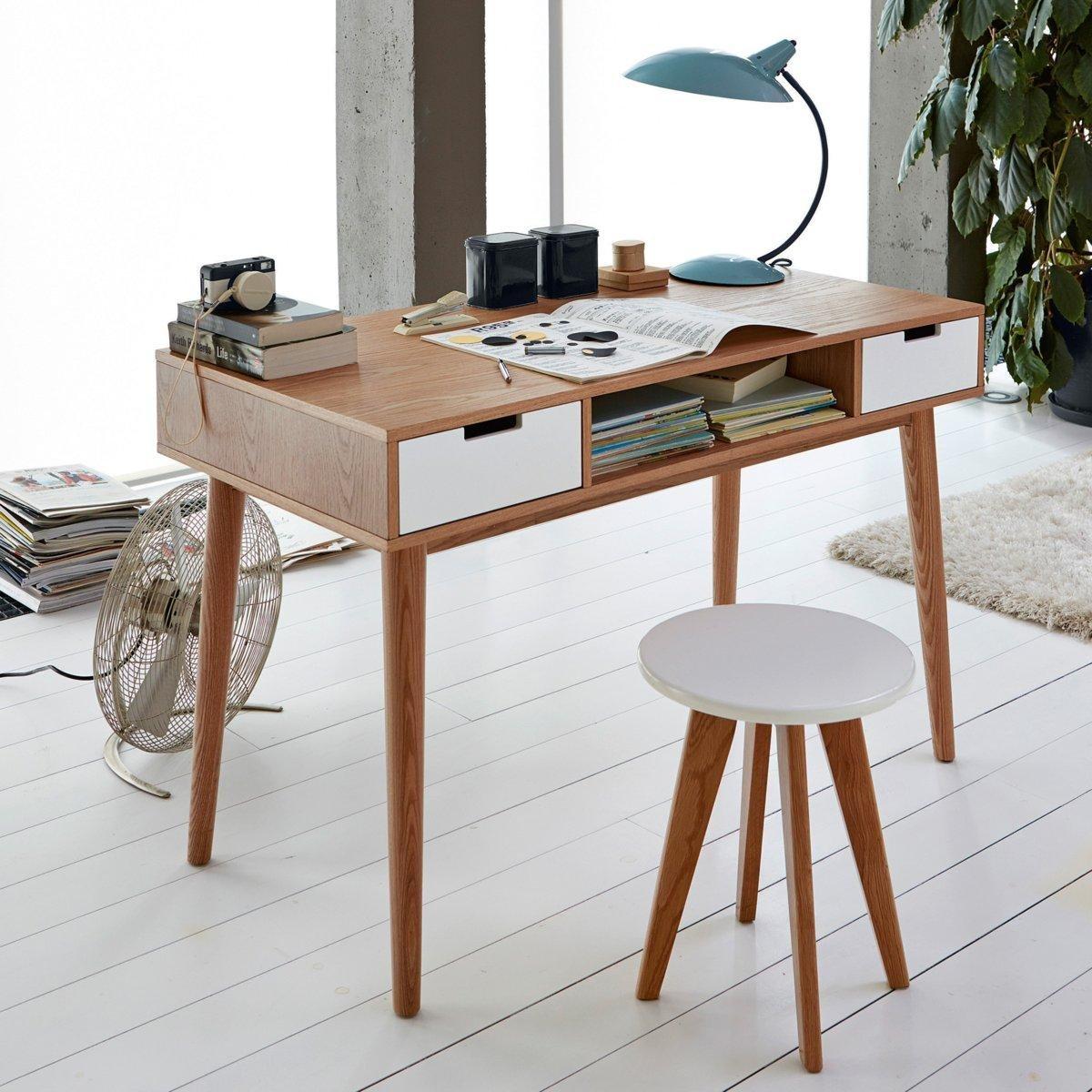 bureau vintage jimi avec 2 tiroirs et des pieds ronds. Black Bedroom Furniture Sets. Home Design Ideas