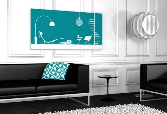 Tableau Design arabesque color bleu canard - Qora & Shai