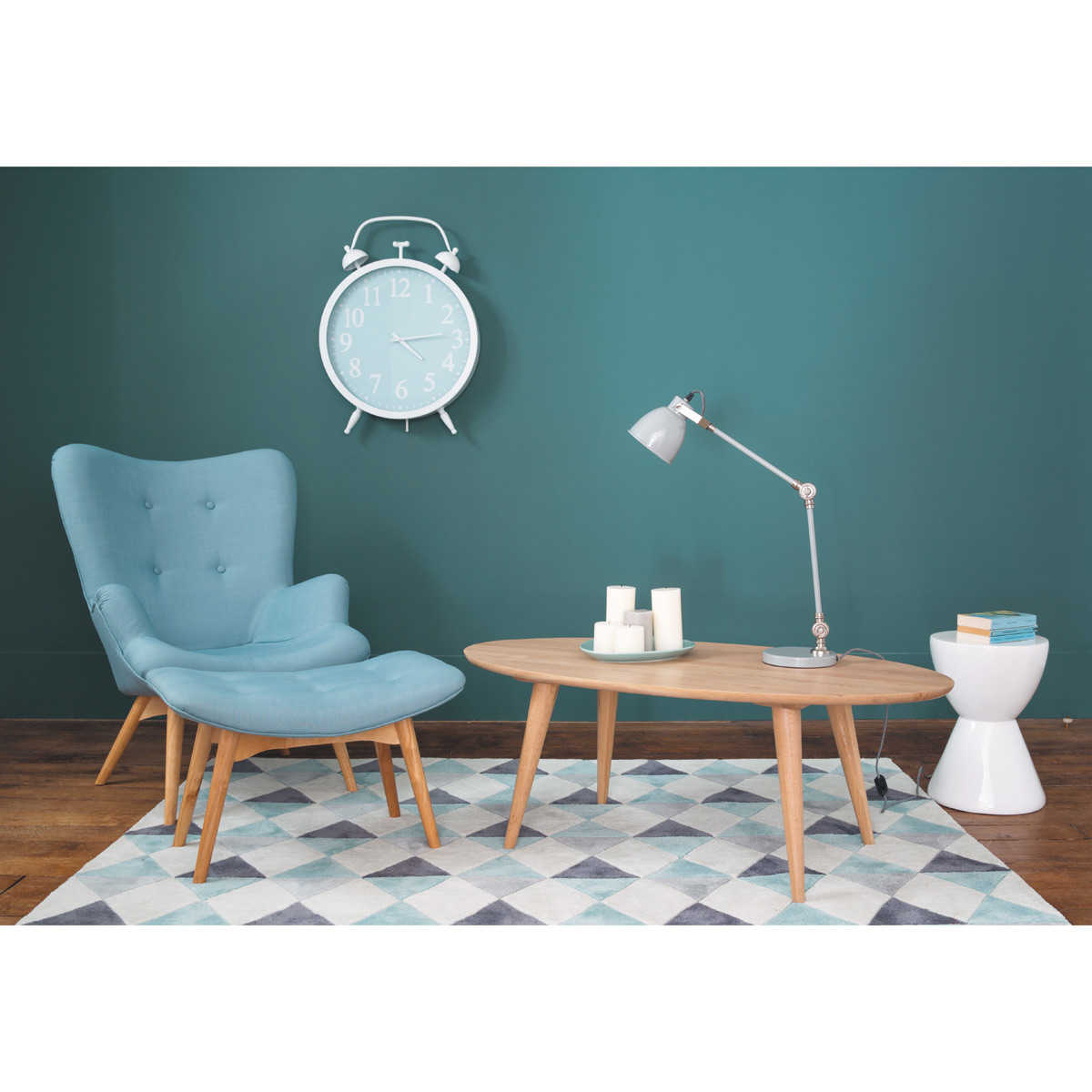fauteuil vintage bleu iceberg maisons du monde