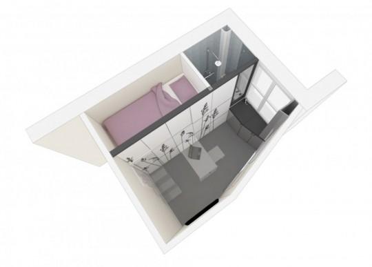 Plan 3D petit appartement 8 mètres carrés