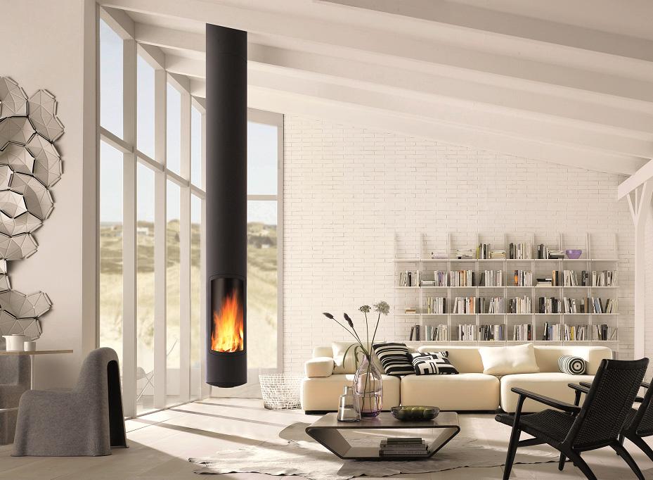 slim focus la chemin e po le bois contemporaine. Black Bedroom Furniture Sets. Home Design Ideas
