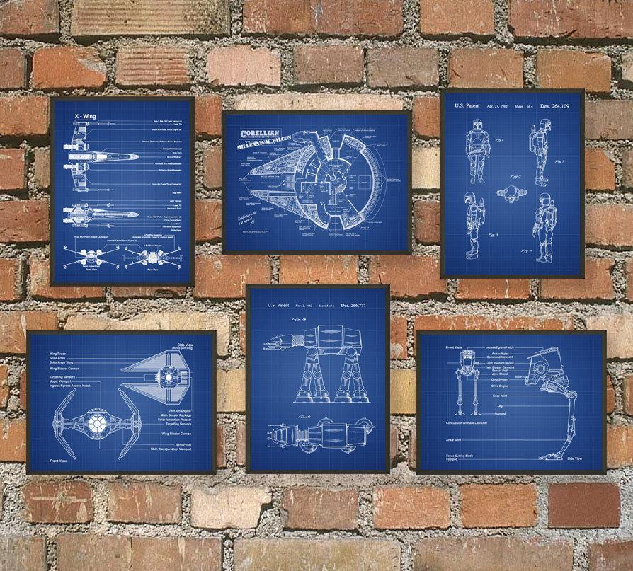Affiches des plans des vaisseaux et engins Star Wars