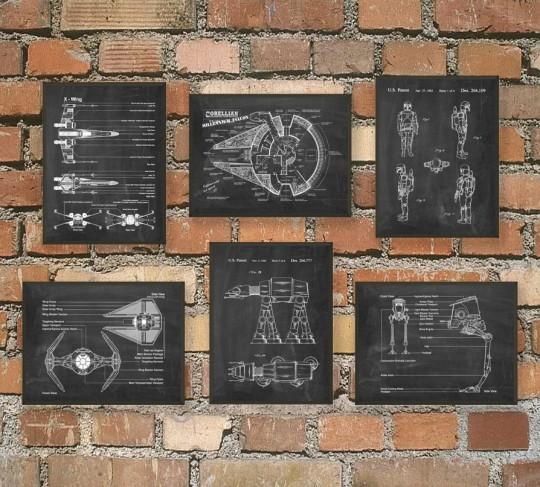 L'ultime Star Wars brevet mural Poster Art  - version ardoise