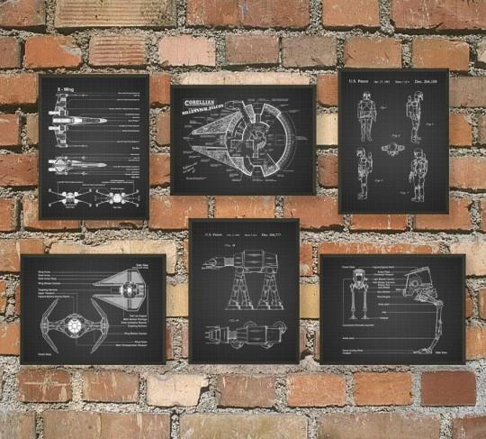 L'ultime Star Wars brevet mural Poster Art  - version noir