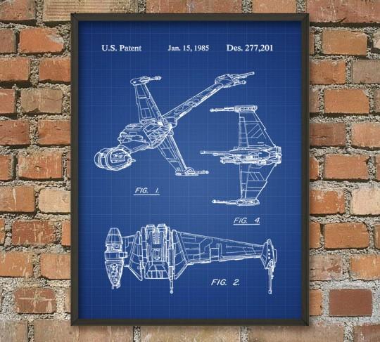 Poster Star Wars plan de vaisseau spatial