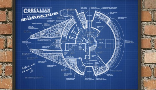 Poster plan du Faucon Millenium Star Wars